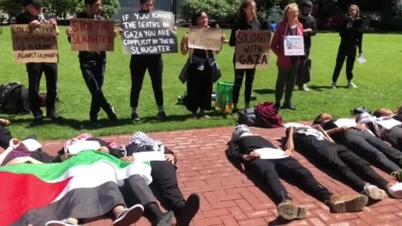 Scene from our die-in at Columbia/Barnard today. Thank you to all of our allies who came out to make this powerful display of solidarity possible.  We read aloud the names of the 25 Palestinians killed in the latest Israeli incursion, followed by a s