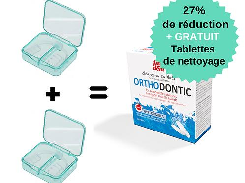 2x gouttières occlusales contre le grincement + 32 tablettes nettoyage GRATUITES