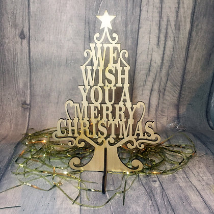 Laser Cut Christmas Tree -We Wish You A Merry Christmas