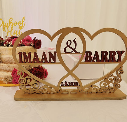 Large Personalised Wedding Sign Table Top Decoration