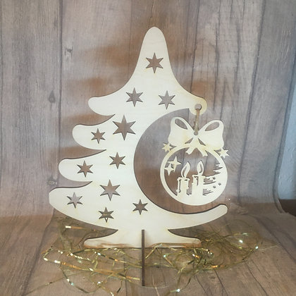 Laser Cut Christmas Tree Stand with Hanging Bauble