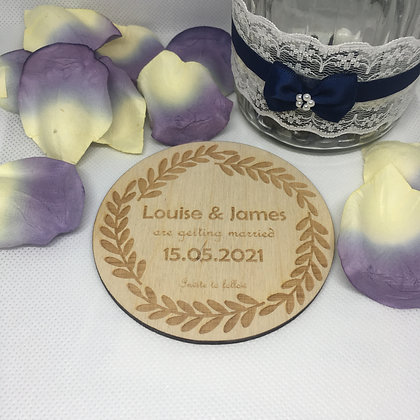 Save the Date Birch Wooden Coaster Full Leaf Decoration