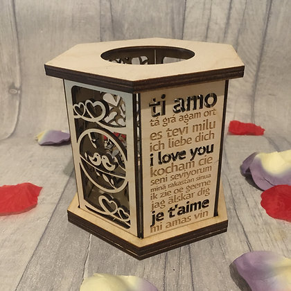 Love Heart Themed Candle Holder