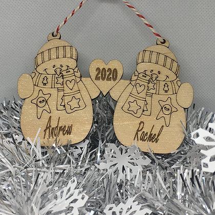 Personalised Xmas Tree Decoration - Christmas Snowman Themed - Laser Cut