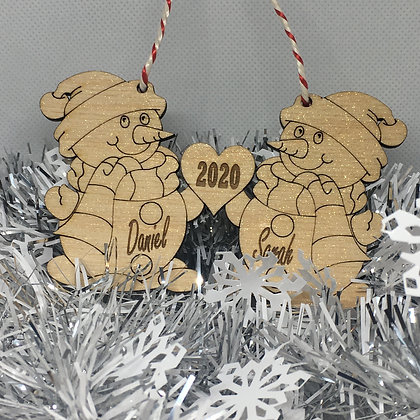 Personalised Christmas Tree Bauble - Christmas Snowman Themed Bauble- Laser Cut