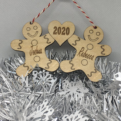 Personalised Xmas Tree Decoration - Christmas Gingerbread Themed - Laser C