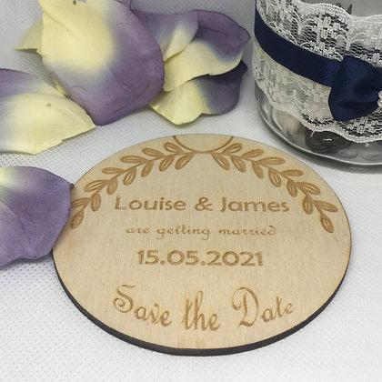 Save the Date Birch Wooden Coaster Half Leaf Decoration
