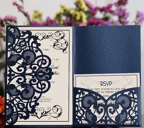 Dark Blue Luxury Lace Laser Cut Wedding Invitation