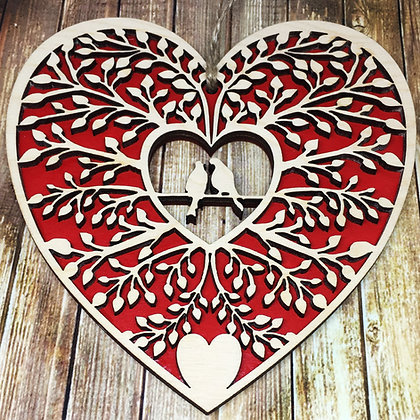 Laser Cut Wooden Lovebirds with Red Heart Background