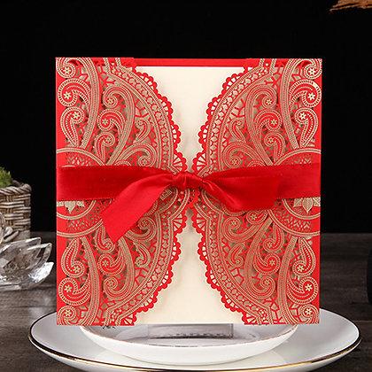 Elegant Red Laser Cut Wedding Invitation with Red Ribbon