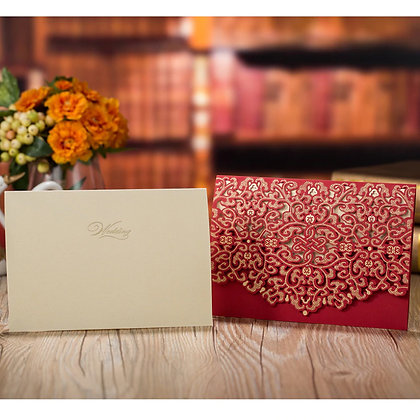 Red & Gold Embossed Luxury Laser Cut Wedding Invitation