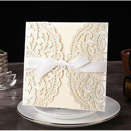 White Laser Cut Wedding Invitation with White Ribbon