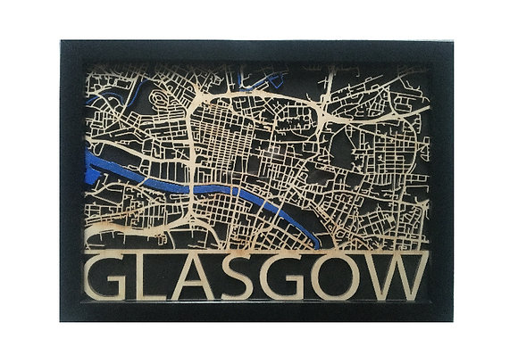 Glasgow Laser Cut Street Map A4