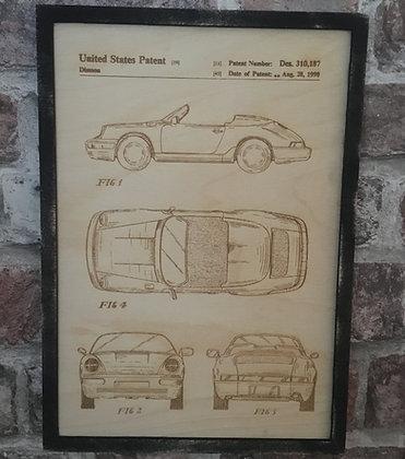 Vintage Porsche 911 Patent Blueprint Wall Art - Rustic Laser Engraved Wooden A4