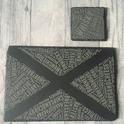 Scotland Themed Coaster and Placemat with Scottish food and drink slang