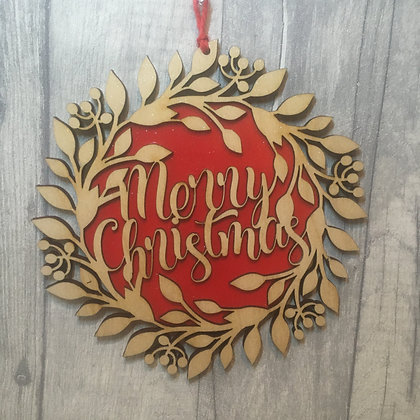 Laser Cut Christmas Wreath - Red or Green with glitter finish