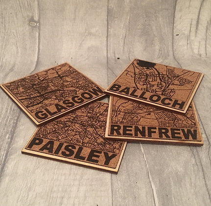 Laser Engraved Cork Scottish Town/City Map Coaster - Any town or City