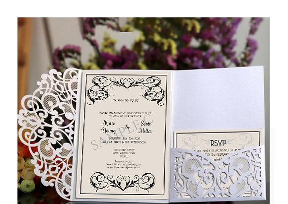 White Luxury Lace Laser Cut Wedding Invitation