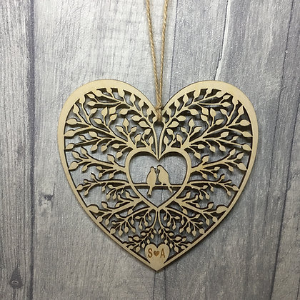Love Birds Laser Cut Love Heart Personalised with Initials