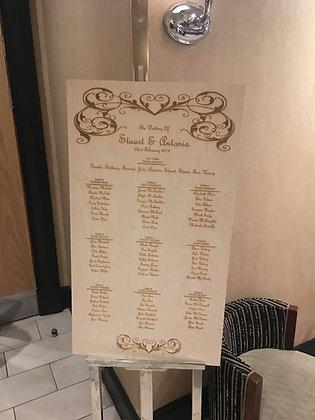 Laser Cut Engraved Large Decorative Table Plan