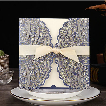 Blue Laser Cut Wedding Invitation with White Ribbon