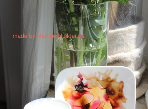 Keramik bestempeln und mit Alcohol Inks einfärben
