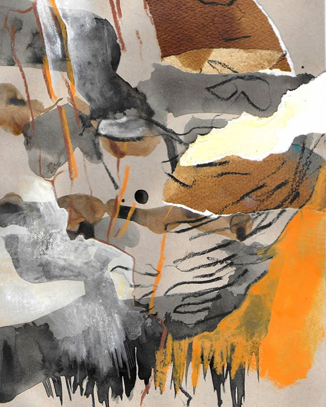Variscan [collage, ink and pastel on paper]__Based on a recent field trip to the Torbay geopark and