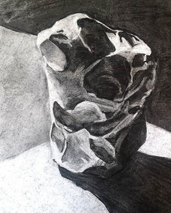 Charcoal study of a rock (chert_) in preparation for the first class of #carbononcarbon last month.j