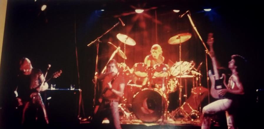 Onstage with Talon Circa 1983 (Left to Right) Brett Parker, Ted Seefluth, Scott Seefluth, Les Berta