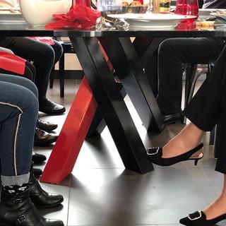 table acier plateau verre