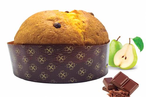 Panettone aux poires confites et au chocolat