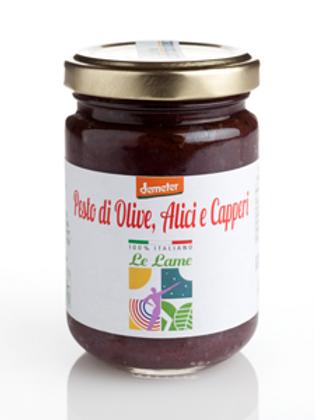 Sauce Pesto aux olives, anchois et câpres