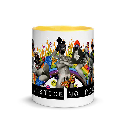 No Justice No Peace Defund the Police #blacklivesmatter Mug with Color Inside