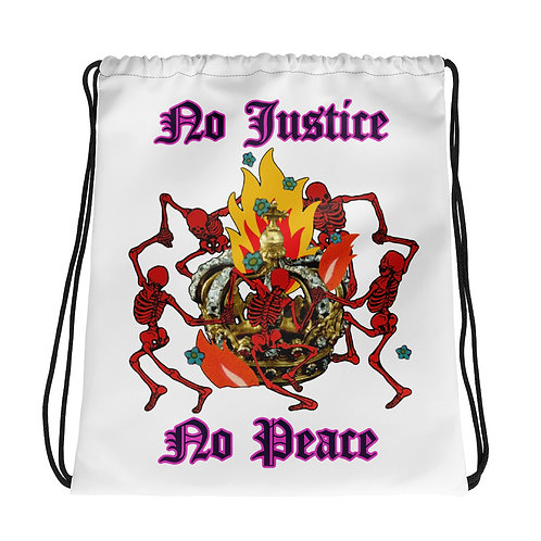 No Justice No Peace #BLACKLIVESMATTER Drawstring bag