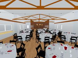 3D rendering of barn wedding