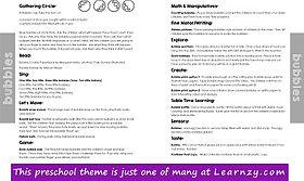 bubbles preschool theme lesson plan - Co