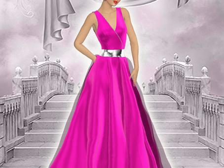 Vestido de fiesta fucsia y plata, con Clo3d y Photoshop
