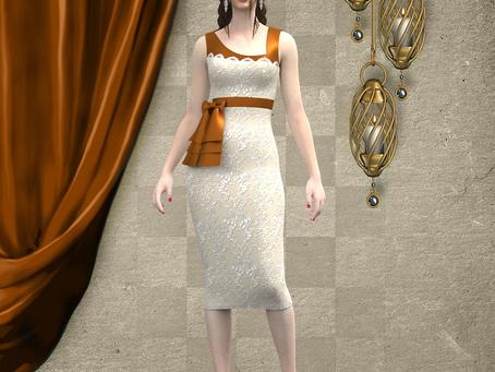 Vestido de cocktail en marrón y beige