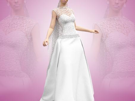 Vestido de novia, con velo de encaje