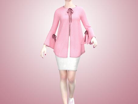 Moda casual, blusa rosa y falda denim