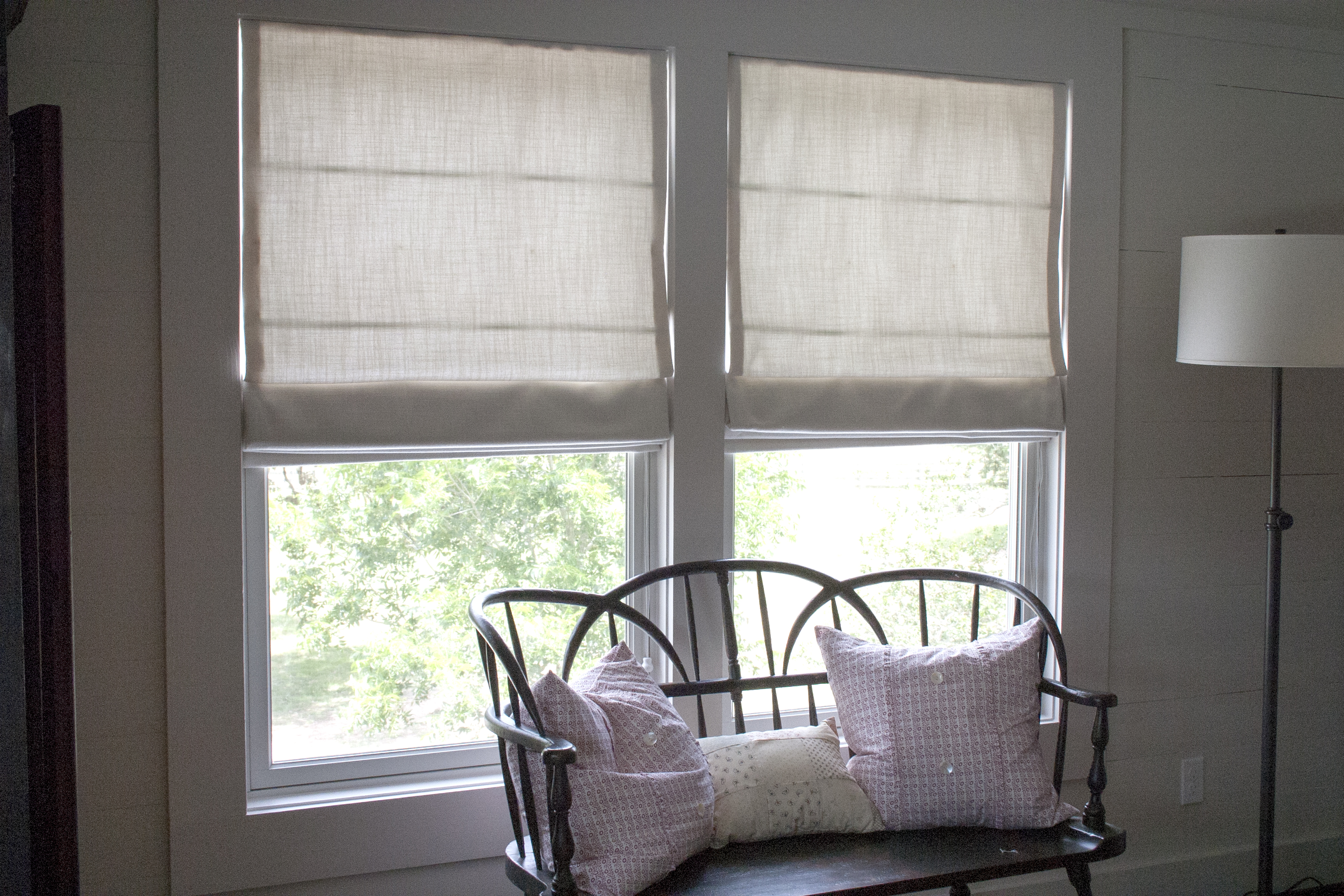 Double Window Roman Shades