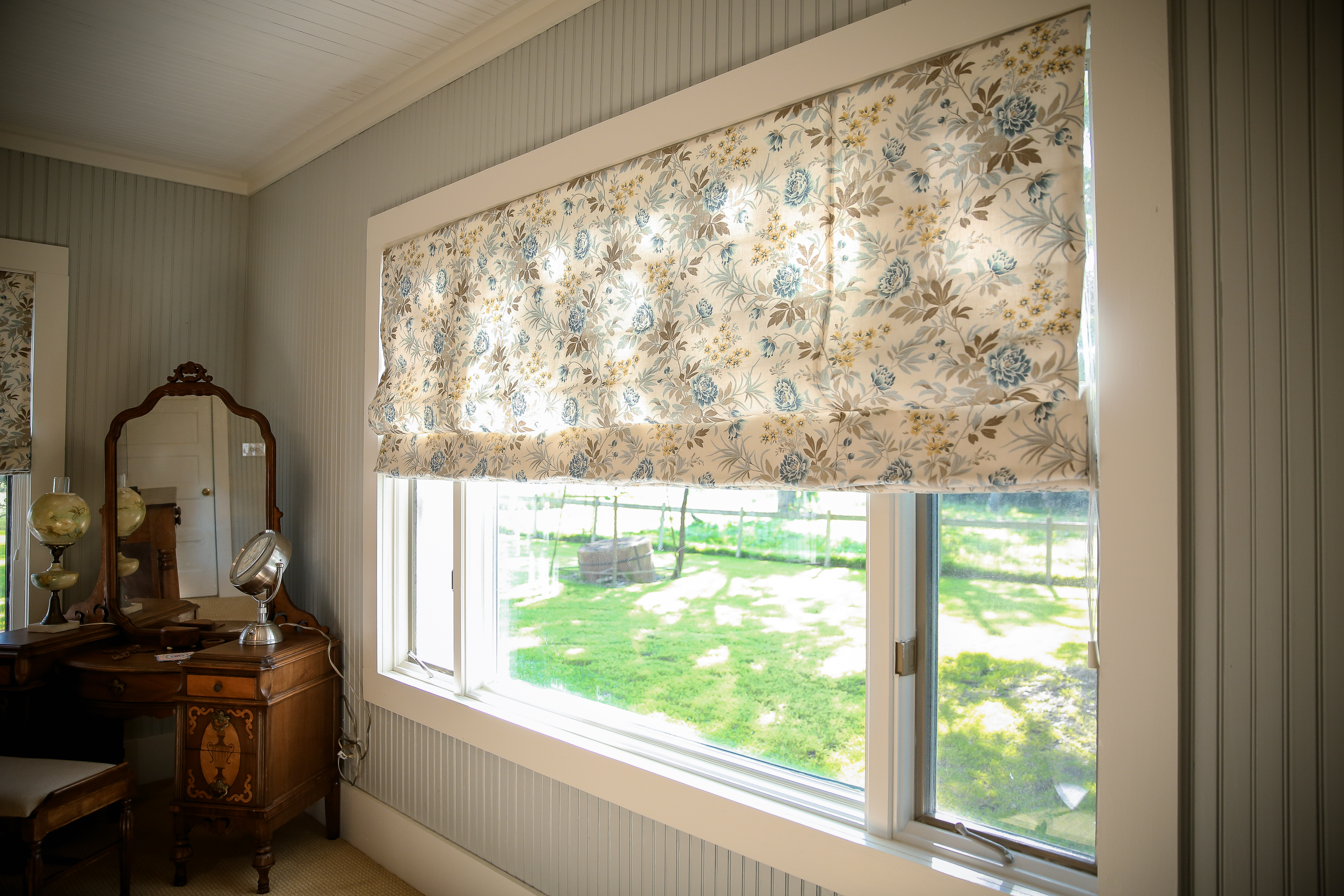 Custom Window Treatment in Bedroom