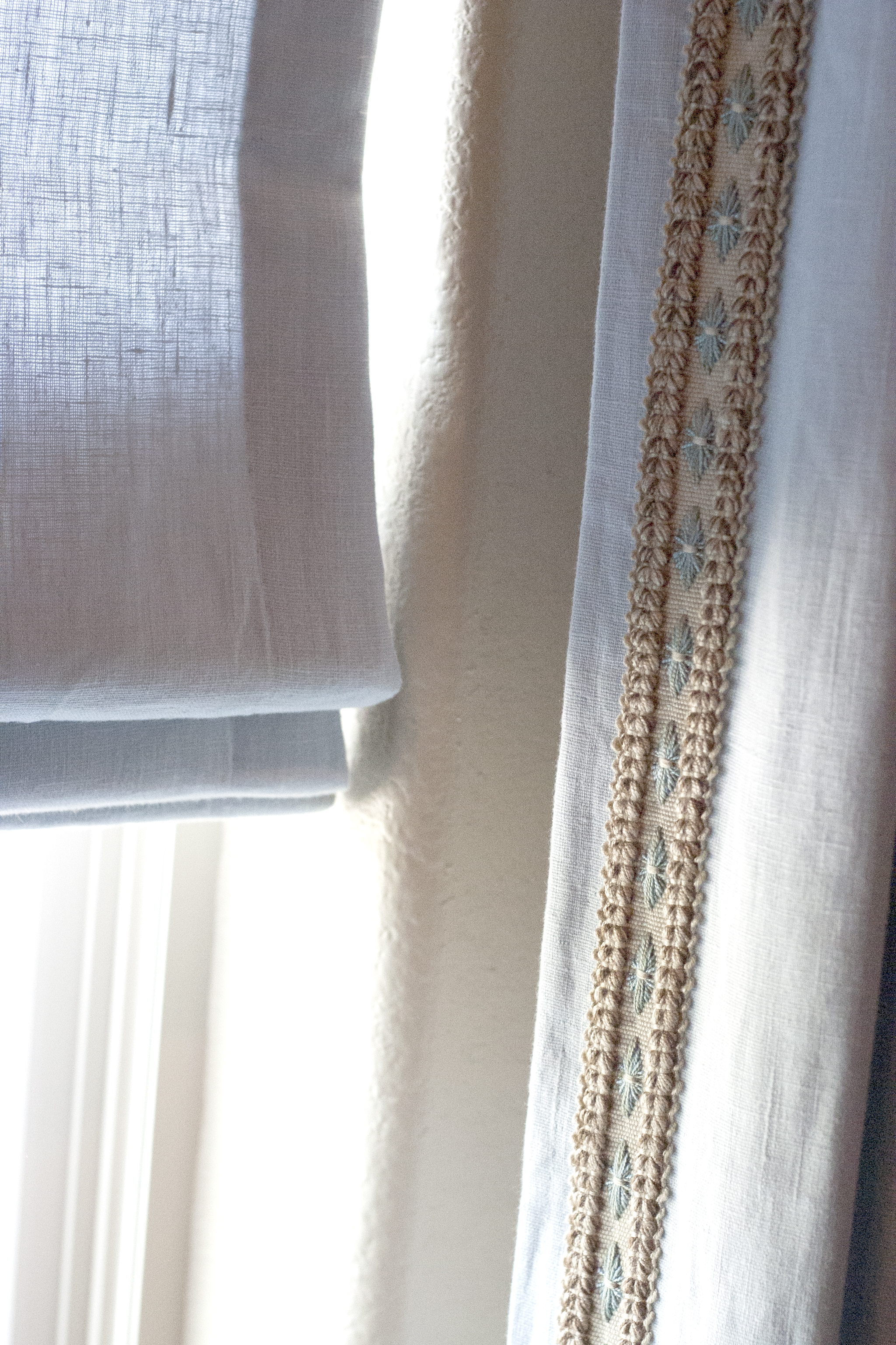 Master bedroom drapes and romans