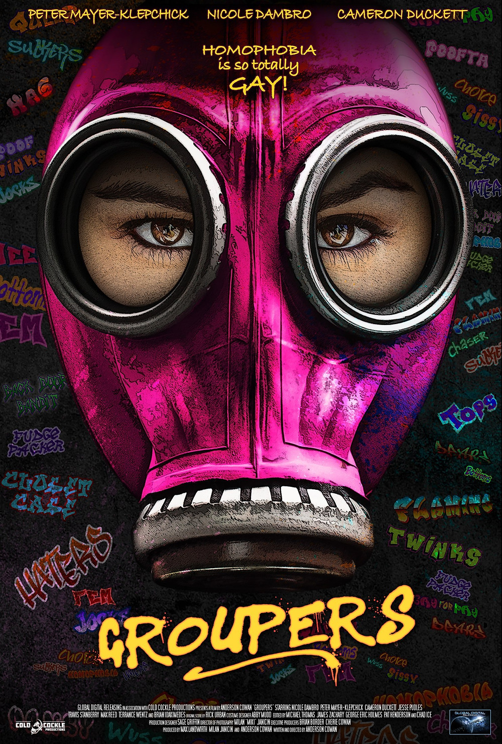 hot pink gas mask pop art movie poster for Groupers