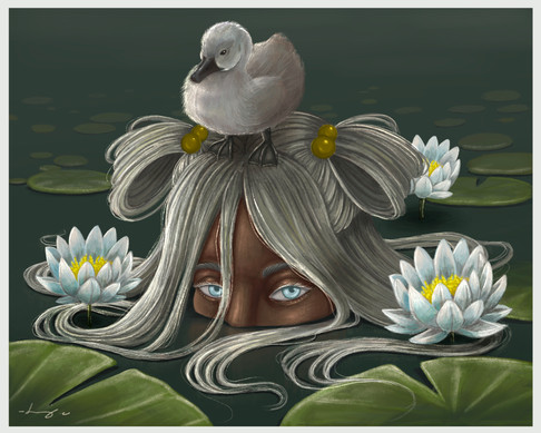 The Girl, The Gosling and the Lily Pads