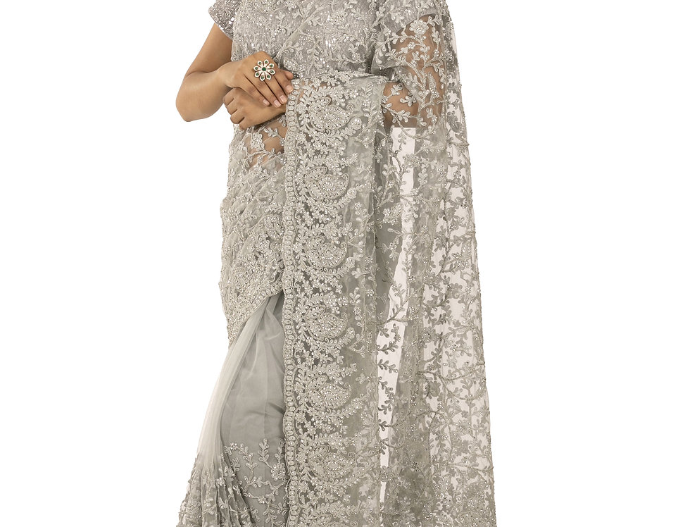 Grey Base Net Designer Saree with Zari Work & Blouse (Style Code: 2336787)