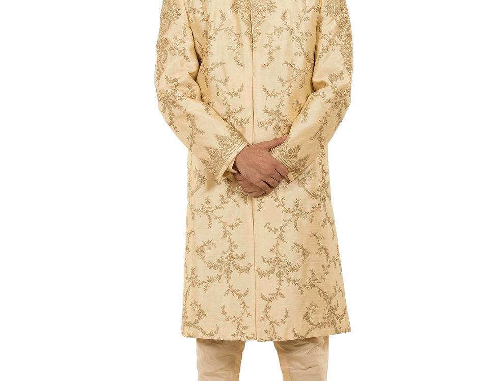 Light Gold Base Dupion Sherwani with Kasab Jaal Work (Style Code: 2340808)