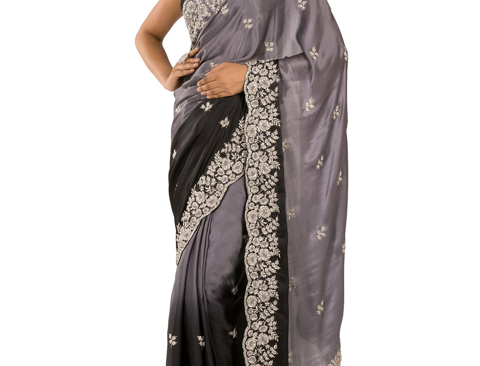 Black & Grey Shaded Pure Satin Designer Saree with Blouse (Style Code: 2676419)