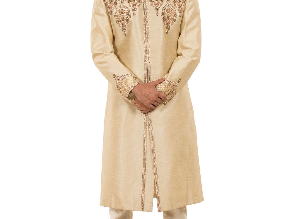 Cream Base Dupion Sherwani with Kasab &  Resham Work (Style Code: 2324261)