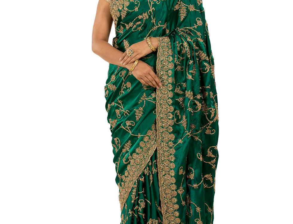 Green Base Designer Saree with Zarkan Work & Blouse (Style Code: 2343778)